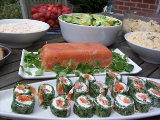 Cold Buffet for a conference, with cold meats, seasonal salads, homemade breads and delivered to the door